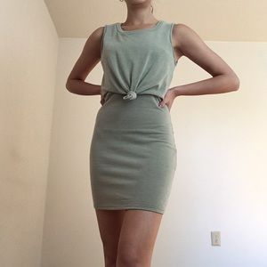 Sage bodycon tie dress